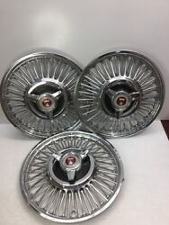 3-oem Ford Mustang Spinner Wire Hubcap Wheel Cover