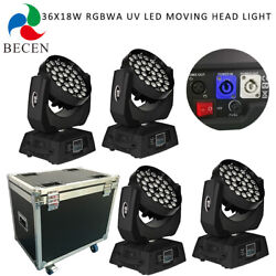 4pcs/fly Case Zoom 36x18w Rgbwa Uv 6in1 Wash Led Moving Head Light With Powercon