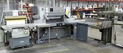 Polar 137 Autotrim Cutter with side tables and a Knorr RLA 3-P Jogger Table