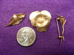 Lot Of Three Vtg Antique Gold Filled Brooches Pins One Pearl Each Lilly Pad+++