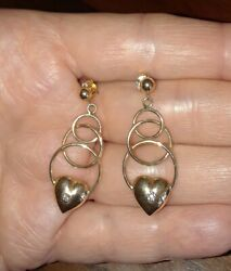 ☆ Beautiful ☆ Yellow Gold With Diamond Accent Heart Dangle Post Earrings