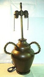 Great Arts And Crafts Signed Mnd Belgium Hand Hammered Brass And Copper Table Lamp