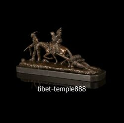 Western Art Deco Bronze Red Indian Tribe Man Women Girl Family Migrate Sculpture