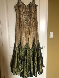Carraz Beverly Hills Mother Of The Bride/groom Gown Dress Gold Green Nw Xl -550
