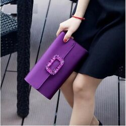 Women Satin Polyester Evening Clutches Vintage Rhinestone Box Party Shoulder Bag $50.34