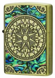 Zippo Antique Compass Shell Inlay Oxidized Brass Plating Both Sides Etching Rare
