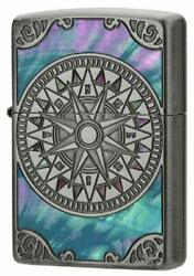 Zippo Antique Compass Shell Inlay Oxidized Silver Plating Both Sides Etching