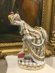 Rare Russian Moscow Gardner Hand Painted And Gilt Porcelain Figurine , H-20cm