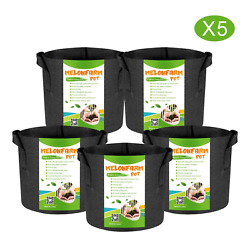 MELONFARM 5-Pack 1 Gallon Plant Grow Bags - Smart Thickened Non-Woven Aeration