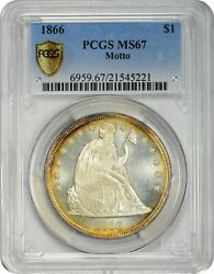 Finest 1866 $1 Motto MS67 PCGS Liberty Seated Dollar