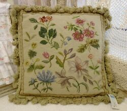 14vintage Full Subtle Floral French Country Home Decor Needlepoint Pillow Cover