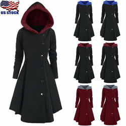 Plus Size Womens Winter Warm Long Peacoat Coats Hooded Trench Outwear Jackets US
