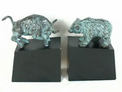 Rare Vintage Solid Aged Brass Spi Bookends Bull And Bear Of Wall Street