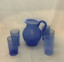 Fenton Sapphire Blue Coin Dot Pitcher With Glasses 1990