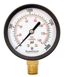 2-1/2 Utility Pressure Gauge For Water, Oil, Gas, 1/4 Npt Lower Mount, Blac...