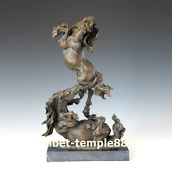 43 Cm Western Art Deco Pure Bronze Marble Two Jumping Fine Horse Steed Sculpture
