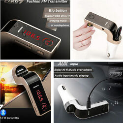 Car Fm Transmitter Modulator Usb Charger Wireless Bluetooth Mp3 Player Red Led