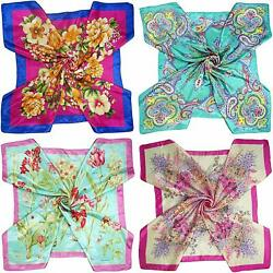 Set Large 35 × 35 inches Satin Square Scarves Neck Hair Head Scarf Bundle