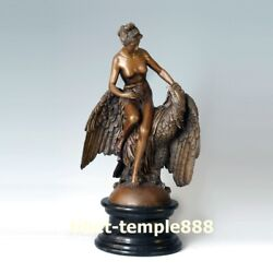 46 Cm Western Art Deco Bronze The Goddess Of Youth Herb Ans Eagle Hawk Sculpture