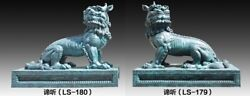 220 cm Western art deco pure bronze Foo dog lion Kylin Dragon Animal sculpture