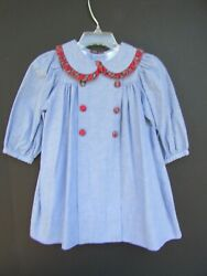 Chabre  Boutique Brand Long Sleeve Blue Chambray Dress Size 24M Cute EUC