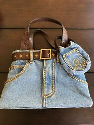 Jeans Denim Classic Style Bag Purse Belt Buckle Studs Designer With Small Pocket