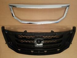2pc Set 2008-2010 Odyssey Front Bumper Upper Grille And Chrome Molding Trim New