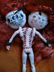Blythe TBL custom dolls cleft lip Siamese twins two heads with masks