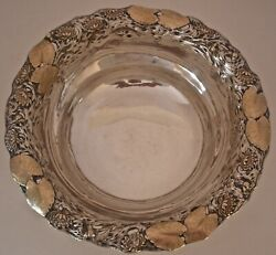 RARE SHIEBLER AESTHETIC STERLING & 14KT MIXED METAL BOWL WATER LILLIES PADS 1885