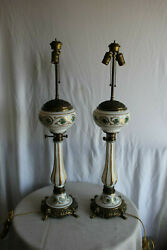 Pair Of Regency Style Gilded And Painted Porcelain And Brass Lamps