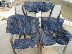 Vera Bradley Awesome Travel Set In Retired Classic Navy - 7 Pieces