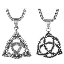 Stainless Steel Celtic Knot Triquetra Trinity Pewter Pendant Necklace Men Women