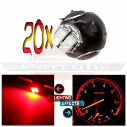 20x T3 Neo Wedge Red LED Light Instrument Panel Climate Control Lamp Bulbs