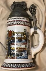 Germany Wwi Memorial Beer Stein Lion Thumb Lift And Locomotive Finial Porcelain