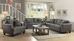 Modern 3-piece Linen-like Fabric Sofa Set With Couch Loveseat And Chair, Charcoal