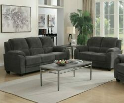 Casual 2-piece Chevron Velvet Fabric Sofa Set With Couch And Loveseat Charcoal