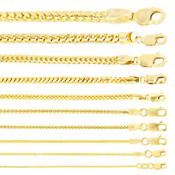 10k Yellow Gold Solid 1mm-5mm Wheat Round Franco Chain Pendant Necklace 16- 30