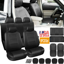 9pcs Leatherette Car Seat Covers Front Rear Full Set Auto Seat Protector Cushion
