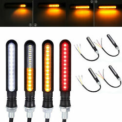 4X LED Amber Turn Signal lights Flowing Water Universal For Motorcycle 10mm