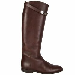 58476 Auth Hermes Chocolate Box Leather Jumping Riding Boots Shoes 39