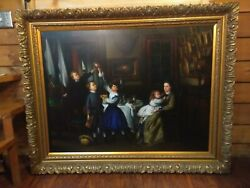 Large Exquisite Unsigned Oil Painting 58-1/2x47