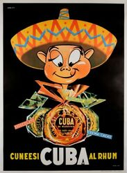 Original Vintage French Poster Advertising Cuba Rhum Rum 1960and039s