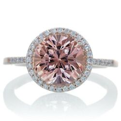 Morganite Solitaire With Accent Ring 10k Rose Gold
