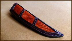 Custom Sheath Holster Cover Snake Skin Hand Stitched For Damascus Knife