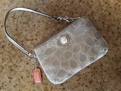 Coach Wristlet Gray beige and silver $23.00