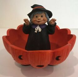Halloween Witch Pumpkin Jack O Lantern Accents Unlimited Candy Display Dish 2003