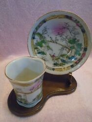 Vintage Miniature Cup And Saucer On Wood Stand Hand Painted Made In Japan