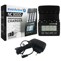 Everactive Nc3000 Professional Battery Charger Pro Lcd Smart Charge Ni-mh Ni-cd