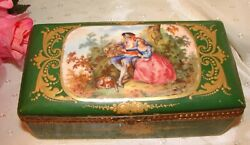Antique Hand Painted French Porcelain Gilt Bronze Jewelry Box