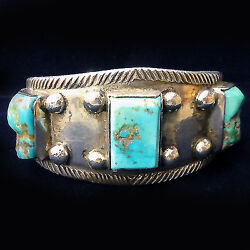 Navajo Turquoise Coin Silver Bracelet Native American Circa1940 Museum Quality